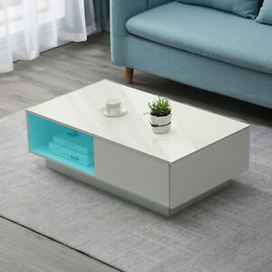 High Gloss LED Coffee Table Drawer Storage Modern Living Room Furniture+Remote