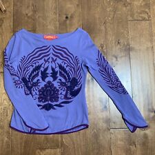 Boatneck Shanghai Tang Top Shirt Cotton Long Sleeve Purple Embroidered Size M
