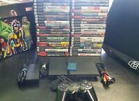 Sony PlayStation 2 PS2 Slim Black Console System memory card, games Madden, Lego