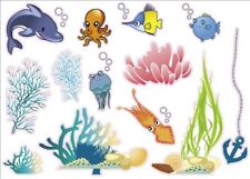 Colorful Creatures of the Sea Artwork Kids Bedroom Decor Wall Sticker Decal