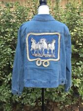 Woman Within Sz 20W Blue Jean Jacket Embroidered Western Horses