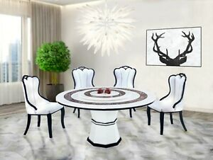 NEW White 1.5MØ Marble Dining Table w/ Lazy Susan & 4 WT Chairs Modern Furniture