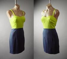 Chartreuse Yellow Bustier Blue Gray Stripe Retro Pinup Twofer 285 mv Dress S M L
