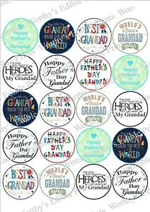 Grandad Fathers Day x 20 Cupcake Toppers Edible Icing Fairy Cake Toppers