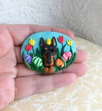 Ooak Doberman Pinscher Brooch Pin Clay Sculpted Jewelry by Raquel theWrc