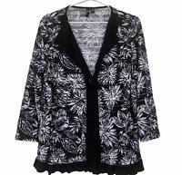 TS Taking Shape Womens Black/White Long Sleeve Single Button Top Plus Size XS