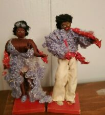 "Pair of vintage dolls CUBAN 4"" folk art costumed"