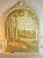 "Silvestri Rachel Badeau Wall Plaque ""Natures Gifts "" 6x8.25"" Forest Animal Scene"