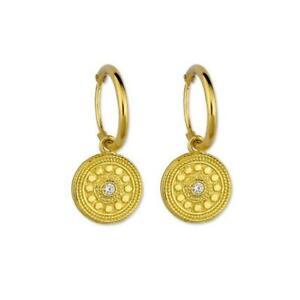 Creolen Echt 925 Silber vergoldet Charm Anhänger Gold Ohrringe Creole Ohrring