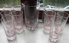 Set Brocca Caraffa in Vetro + 10 Bicchieri Vintage Rari Merenda Cucina Picnic