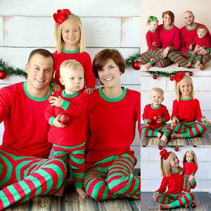 Family Matching Christmas Pajamas Set Women Baby Kids Stripe Nightwear Sleepwear