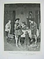 Ferdinand Roybet Breaking up the Party 1881 Engraved Art Proof John Astor NY