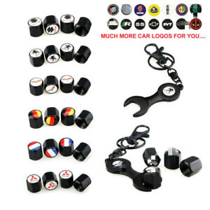 4pcs Black Car Wheel Tire Valve Stem Caps Keychain Wrench for  Fit Cadillac more