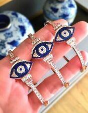 Rose 14k Gold Over Silver Evil Eye Cubic Zirconia Bracelet