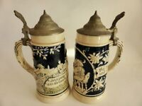 Eckhardt & Engler 370 Child's Steins, Antique Lidded German Beer Mugs Made 1910s
