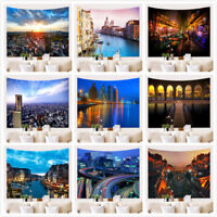 Modern City Building Fabric Wall Hanging Tapestry Throw Art Dorm Decor Bedspread