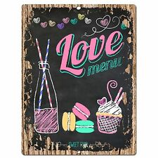 PP0568 Love Menu Plate Chic Sign Store Shop Cafe Home Kitchen Decor Gift Ideas