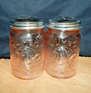 "PINK Glass ""JUMBO PEANUT BUTTER"" Salt & Pepper Shakers ELEPHANT Cincinnati OH"