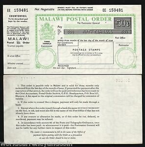 MALAWI 50 or 60 TAMBALA 1950 RARELY OFFERED 1 PCE MINT POSTAL ORDER HISTORY ITEM