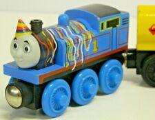 Thomas & Friends Wood Thomas Birthday w. 3 Cars Plz SeeAll Pics comp. Brio/