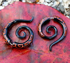 fake gauge earrings, Organic ,Black Horn Earrings  ,Gauges Spiral ,tribal style,