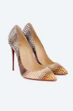 743823993d CHRISTIAN LOUBOUTIN NEW Beige Brown Textured Snake Skin Pointy Cap Toe Pump  8/39