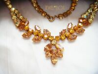 VINTAGE RARE MARQUISE TOPAZ CRYSTAL CHAMPAGNE RHINESTONE DROPPER NECKLACE