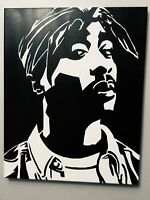 Hand painted art canvas 16x20 Inches TUPAC Acrylic painting Black & White