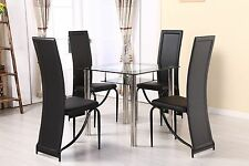 Compact Small Black/Red/Clear Glass Chrome Dining Table & 2 Chair Set 80x80 cm
