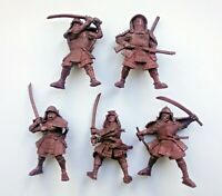 Set of 5 Samurai Warriors Plastic Toy Soldier 54mm 1/32 scale Tehnolog Fantasy