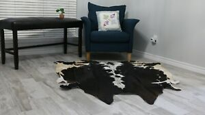 Tricolor Cowhide rug Black White 5x6ft, Animal Print Cow print Real Leather rugs