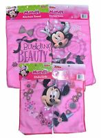 Disney Minnie Floral  2 Kitchen Towel and 2 Dishcloth Pink 4pc Sets