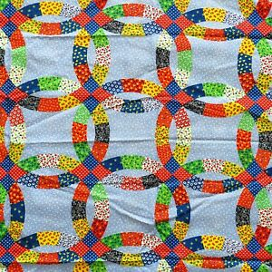 2.9 Yards Vintage 1970s Wedding Ring Quilt Pattern Fabric Calico