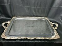 """ENGLISH SILVER WAITER'S TRAY, SILVERPLATE on copper MARKED """"crown SHSP"""" 29"""" LONG"""