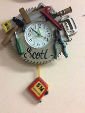 SAW BLADE & TOOLS TAPE MEASURE CARPENTER WALL CLOCK ONE OF A KIND!!