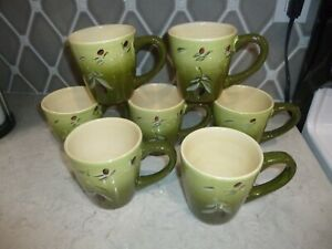 Better Homes & Gardens OLIVE VILLA Coffee Cups Mugs Black/Red Olives