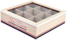 Tee-Box  mit Fenster 9 Fächern Teekiste Teedose Teebeutel-Teekasten Tea Time