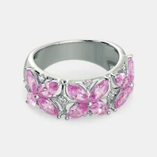 0.9Ct Marquise Cut Pink Diamond Engagement Ring Floral Band 14k White Gold Over