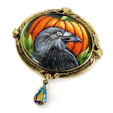 NEW SWEET ROMANCE VICTORIAN STYLE RAVEN HALLOWEEN PIN ~~MADE IN USA~~