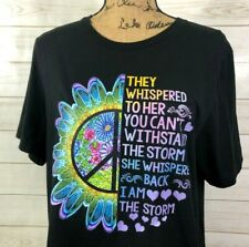 Women's Bella Canvas Graphic T-Shirt Black Floral Withstand the Storm Large