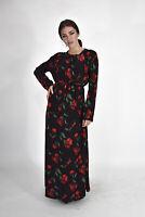 VINTAGE Vestito Nero Dress In Cotone Stile Casual TG XXL Donna Woman