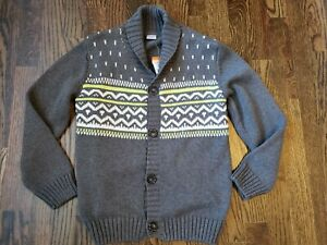 Gymboree Fair Isle Cardigan Sweater Shawl Collar Gray 7/8 NEW