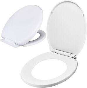 Soft Close Toilet Seat White Bathroom Oval Shape WC Heavy Duty Seats Anti Slam