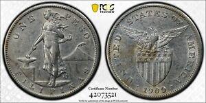 1909-S US PHILIPPINES Peso PCGS XF 45