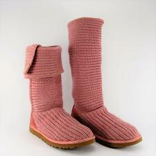 UGG Australia Women Pink Classic Cardy Tall Knit Sweater 3 Button Boots US 8