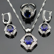 Nice SAPPHIRE ROYAL BLUE Crystal 925 Sterling Silver Earrings Necklace Ring Set
