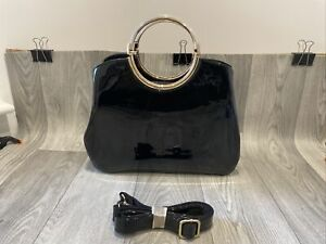 New Handbag Tote Top Handle Patent F-leather Black Loop Womens 36x28 Cm Elegant