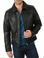 Men's Fashion Plain Black Simple Collared Cow Leather Legend style Jacket