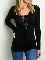 Black Lace-Up Front Neckline Long Sleeve Jersey Tee Blouse Top