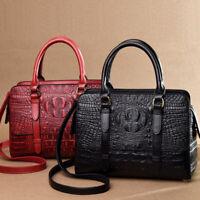 Women's Leather Crocodile Handbags Satchel Tote Sling Shoulder Bag Crossbody Bag